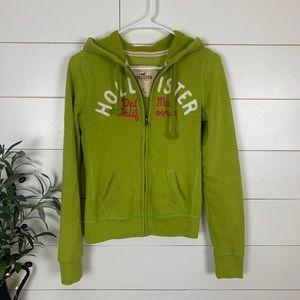 Hollister Lime Green Zip Up Hoodie Sweatshirt